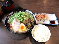 ランチ:緑豚骨ラーメンセット700円@拉麺・空海・那珂川本店