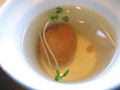 料理:お吸い物の梅@元祖博多めんたい重・西中洲