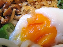 料理:スタミナぶっかけ(冷)の温度玉子@ウエストうどん渡辺通り店