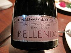 夜:ベッレンダ・プロセッコ・スプマンテ・ラベル@イタリアン・トラットリア・ ウーノ(Trattoria-Uno)