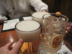 5料理:ビール・ジンジャーエール@からつ庵・奈良屋店・もつ鍋居酒屋