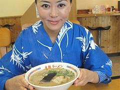 料理:並らーめん530円とアタシ@久留米大龍ラーメン・空港東店