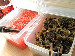 料理:紅しょうがと辛子高菜@ラー麦や・ラーメン