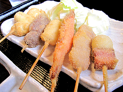ランチ:日替わり串揚げアップ@博多つけ蕎麦・串揚げ・博多大乗路・櫛田神社