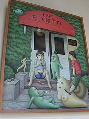 店内:ギャラリーの絵@カフェ・エルグレコ・倉敷