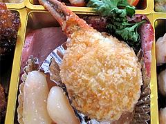 料理:カニ爪フライ・黒糖味焼き豚・白花蜜煮@2011セントラルホテル福岡お節(おせち)・三の重