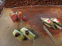 料理:糸島姫鮨・糸島牛・二丈茄子・二丈胡瓜@僧伽小野・糸島