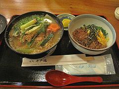 5ランチ:元祖水炊きラーメン・鶏そぼろ丼定食700円@居酒屋・井戸端・博多川端商店街