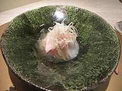 9フレンチ・和食:モーウィのクーリと桜島鶏とコンソメのジュレ@欧割烹・清水・桜坂
