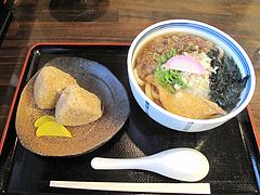 10ランチ:カラフルうどん+かしわおにぎり500円@カラフル食堂・住吉店