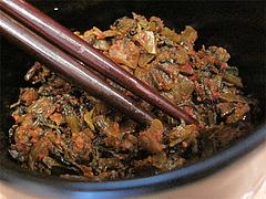 店内:卓上の辛子高菜@博多ちゃんぽん・つけ麺・ちょき・六本松
