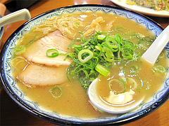 料理:ラーメン(細麺)500円@元祖赤のれん節ちゃんラーメン野間店