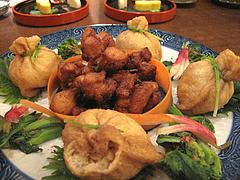 9そば料理:茶巾蕎麦・唐揚げ・菜の花@やぶ金・蕎麦・大名