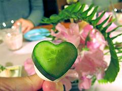料理:ハート形のきゅうり@ひなまつり・女子会