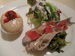 9ランチ:イワシマリネ・玉子ツナソース・サラダの前菜@イタリアンレストラン・天神・西鉄グランドホテル・マンジャーモ