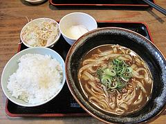 4ランチ:温玉付きカレーうどんセット650円@麺や・ほり野・うどん・那珂川