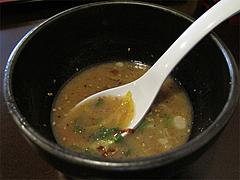 料理:綱場つけ麺のスープ割り@とまと家・博多区綱場町