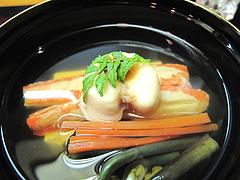 料理:蟹・たいらぎ・蕨・豆腐の吸い物@日本料理・花柚(はなゆう)・倉敷
