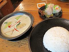 料理:グリーンカレー・ジャスミンライス付750円@タイ料理オシャ・大橋