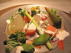 11フレンチ・和食:冬瓜の煮浸しとサーモンのコンフィ@欧割烹・清水・桜坂