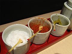 店内:卓上調味料@うどん麦の穂・中州
