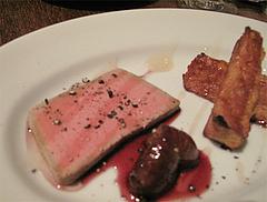 料理:鶏白肝のパテ・フレンチトースト・いちじくの赤ワイン煮添え@ピサンリ・フレンチ・春吉