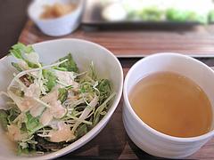 14ランチ:パスタのスープとサラダ@baby's cafe(ベイビーズカフェ)・ドッグカフェ