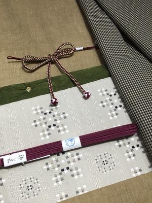 遠州木綿 桐生織 八寸名古屋帯 百花壇 コーディネート 着物