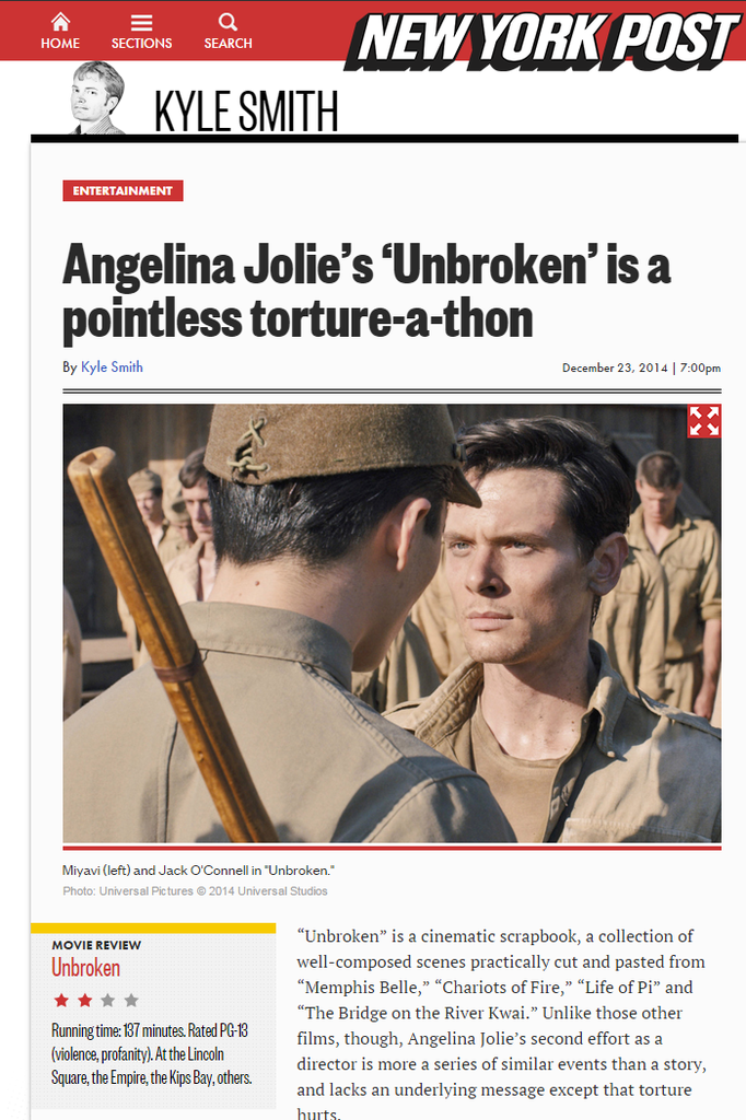 Angelina Jolie's 'Unbroken' is a pointless torture a thon
