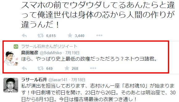 ラサール石井  lasar141 さん   Twitter