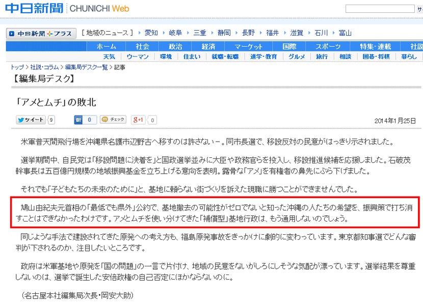 中日新聞 「アメとムチ」の敗北 編集局デスク CHUNICHI Web