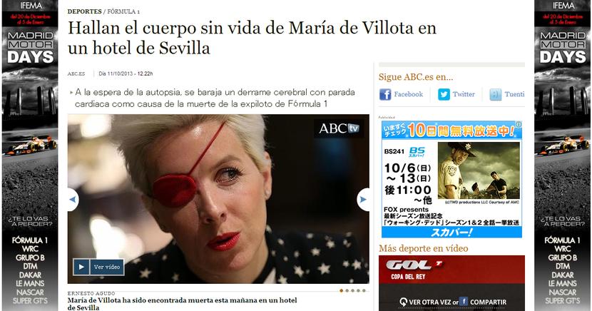 Maria de Villota en un hotel de Sevilla