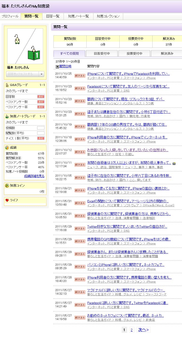 福本 たけしさんの質問一覧 - Yahoo!知恵袋