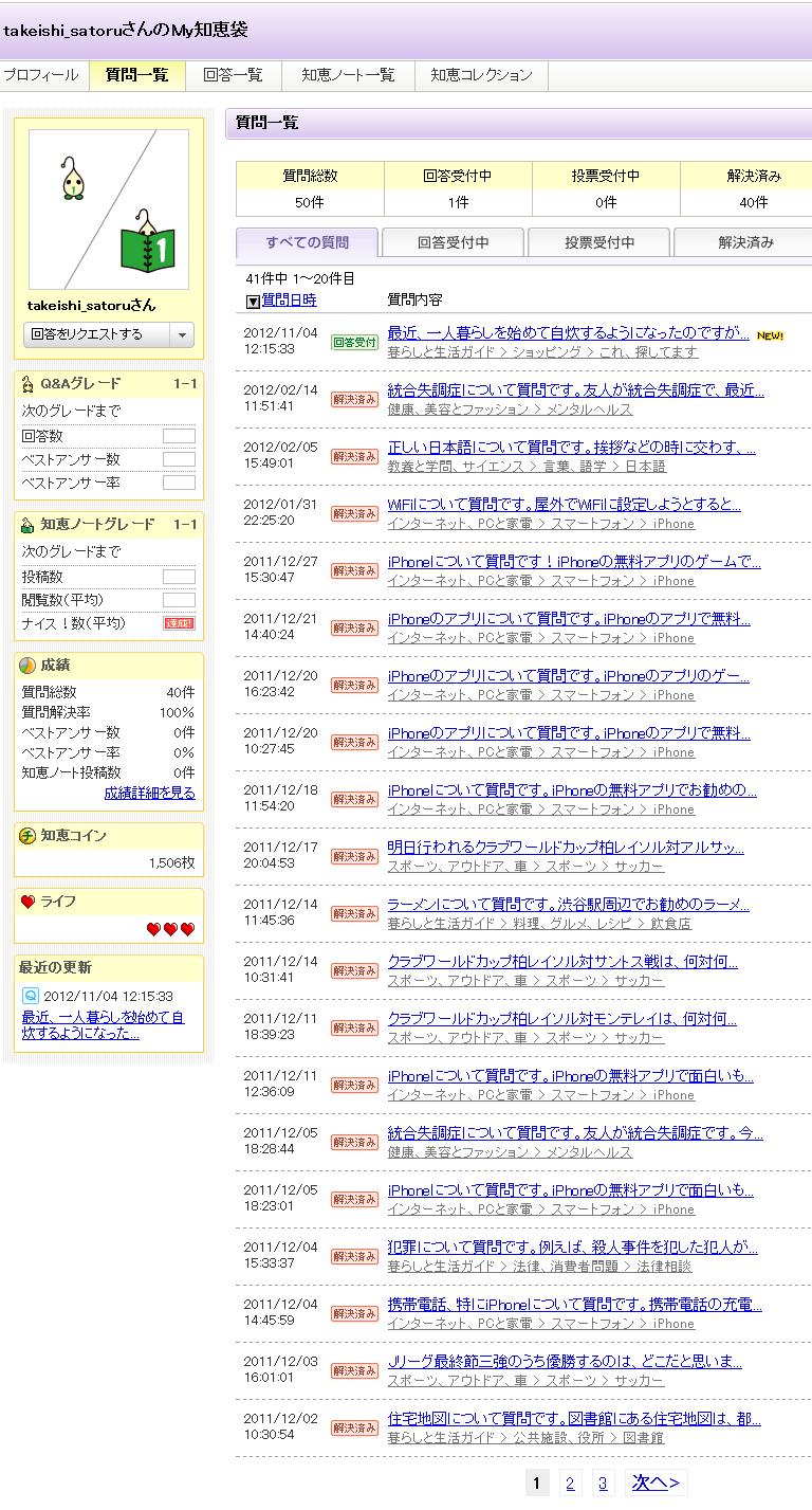 takeishi_satoruさんの質問一覧 - Yahoo!知恵袋