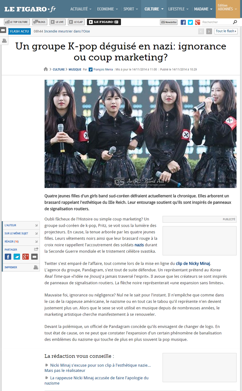 Un groupe K pop deguise en nazi  ignorance ou coup marketing