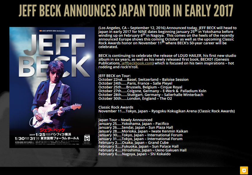 Jeff Beck Announces Japan Tour In Early 2017   Jeff Beck