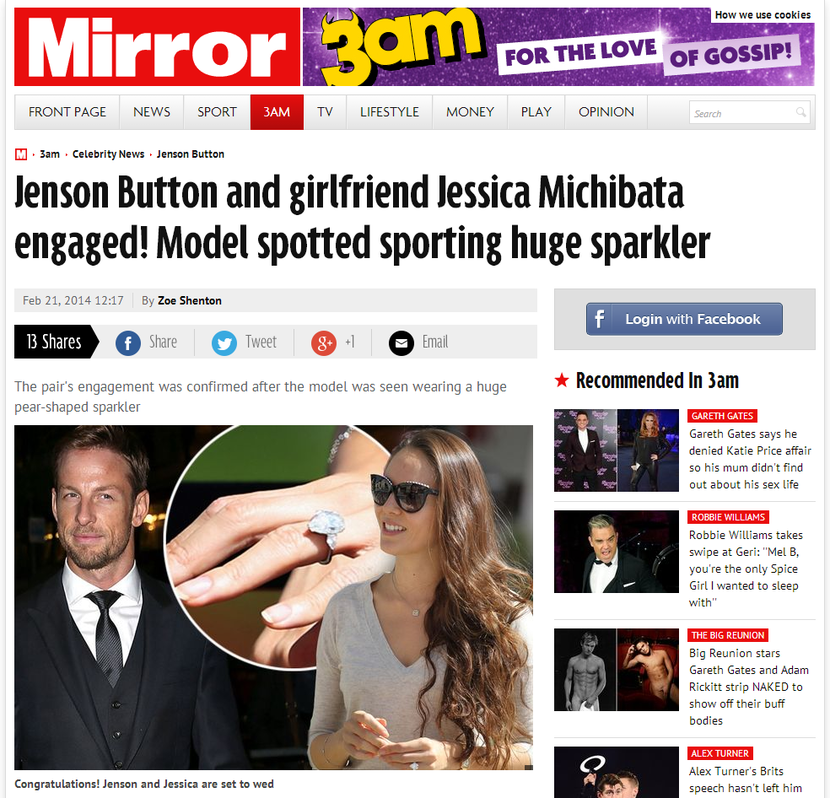 Jenson Button and Jessica engaged
