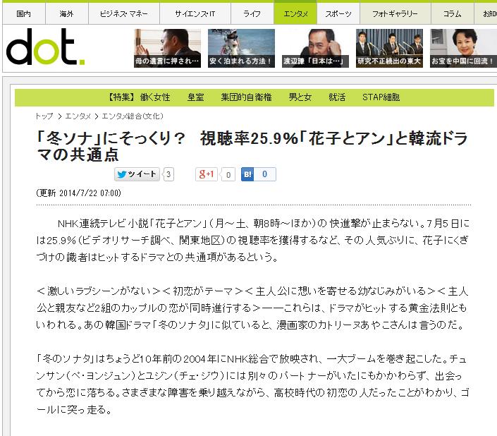 9%「花子とアン」と韓流ドラマの共通点 〈週刊朝日〉
