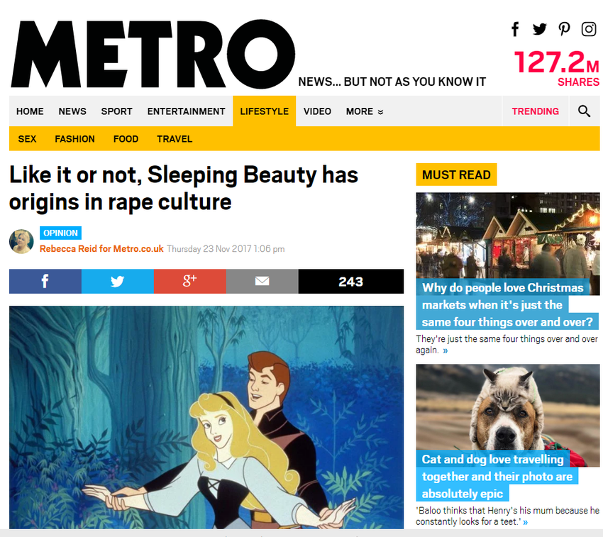 Sleeping Beauty has origins in rape culture