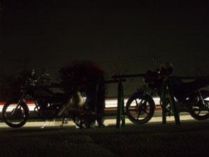 バイクで夜釣り