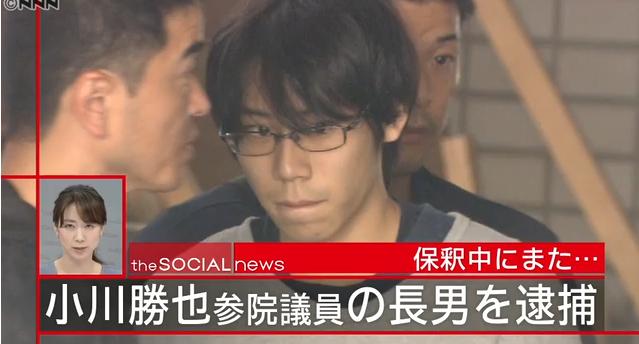 【またかよ】小川参院議員の長男を再逮捕、小学生女児へのわいせつ容疑