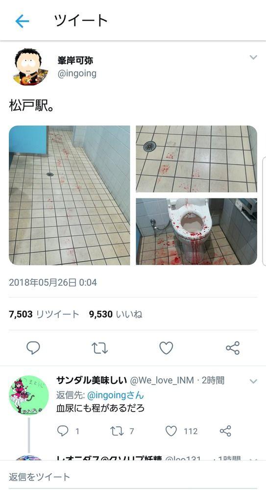 【閲覧注意】なんだこれは…松戸駅の血まみれトイレの画像がTwitterで話題に