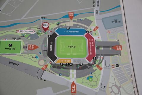 競技場周辺の地図