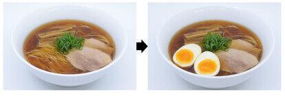 シンプルなラーメンに半熟卵をトッピング