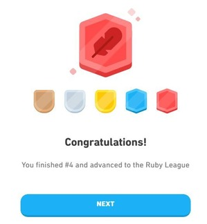 duolingo league congrats