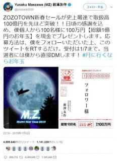 ZOZO前澤、1億円のお年玉企画のRT数が456万回 世界記録に
