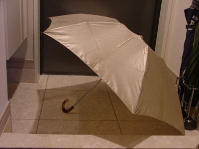 玄関で傘を干していたら