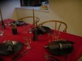 赤のテーブルクロス