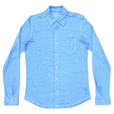 Majestic Filatures  Stretch Linen Long Sleeve Shirts Angel Blue