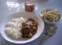 この日の昼食(サバカレー)